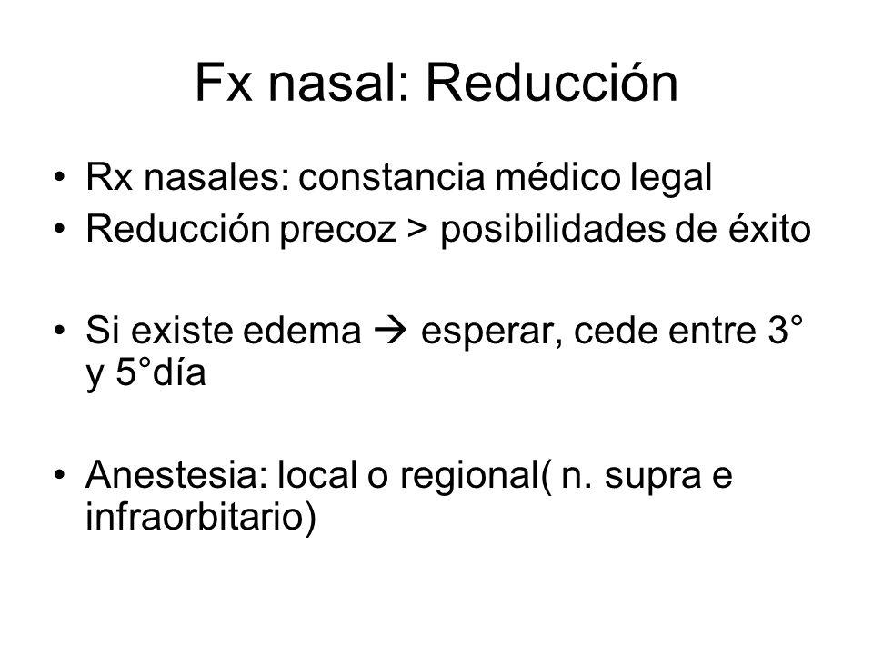 Fx nasal: Reducción Rx nasales: constancia médico legal Reducción precoz > posibilidades de éxito Si existe edema esperar, cede entre 3° y 5°día Anest