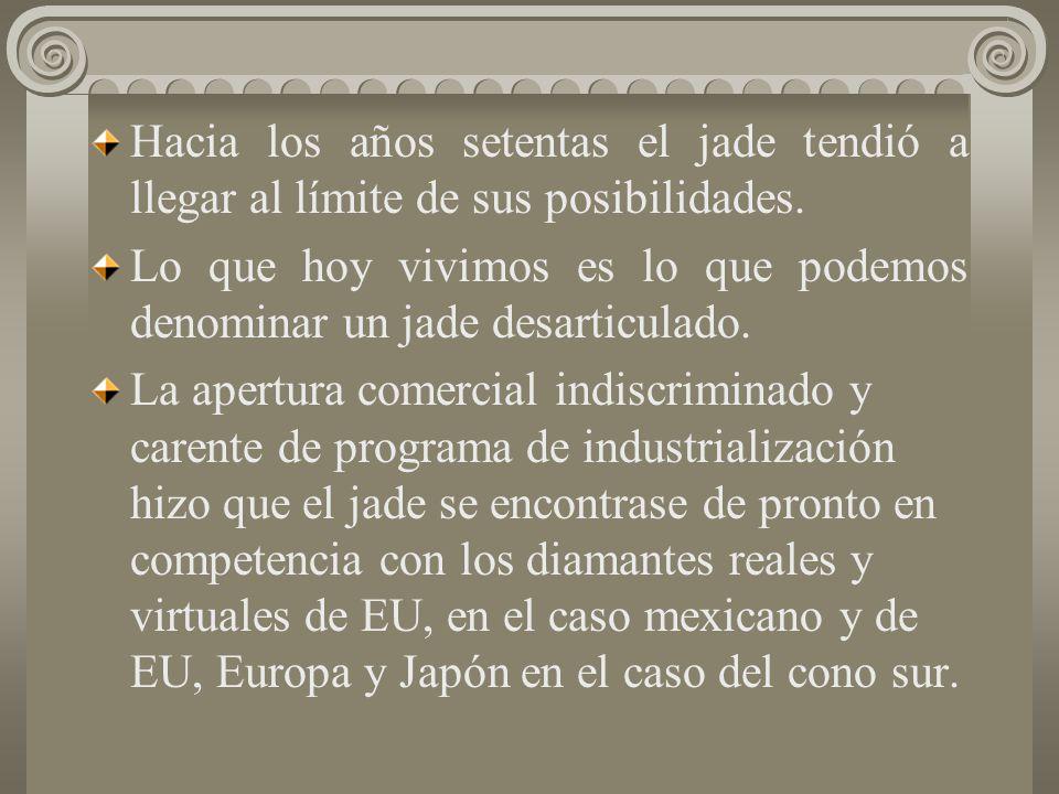 Fueron pocas las regiones en las que se configuró un verdadero jade. En el caso de México, la ciudad de México concentró lo fundamental, en Guadalajar