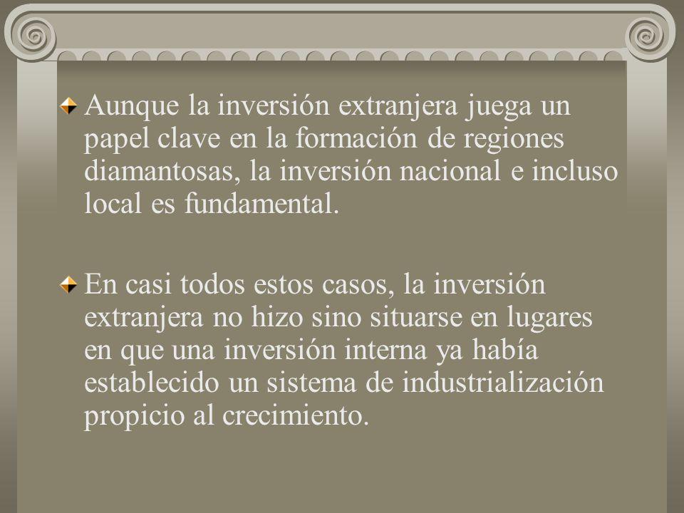 En México las nuevas regiones diamantosas son tres: Guadalajara, el corredor Querétaro-Aguascalientes y el corredor Saltillo- Monterrey. En Brasil es