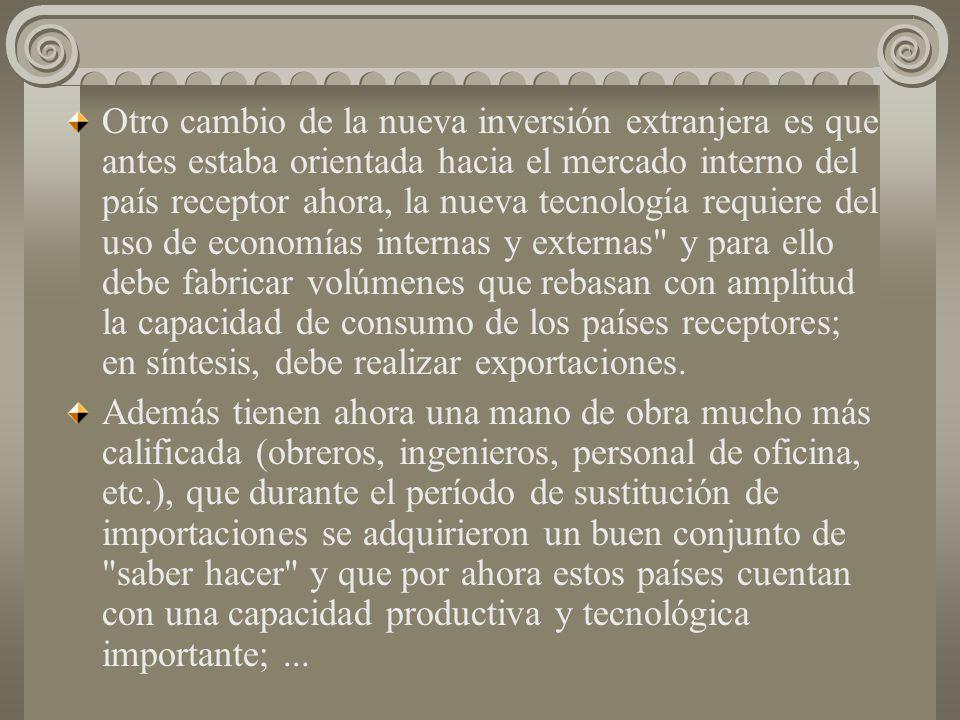 En el mundo tríadico desapareció casi totalmente el viejo sistema de economía protegida en que se basaba la sustitución de importaciones por otro de e