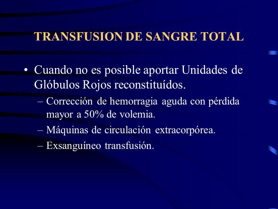 TRANSFUSION DE SANGRE TOTAL Cuando no es posible aportar Unidades de Glóbulos Rojos reconstituídos. –Corrección de hemorragia aguda con pérdida mayor