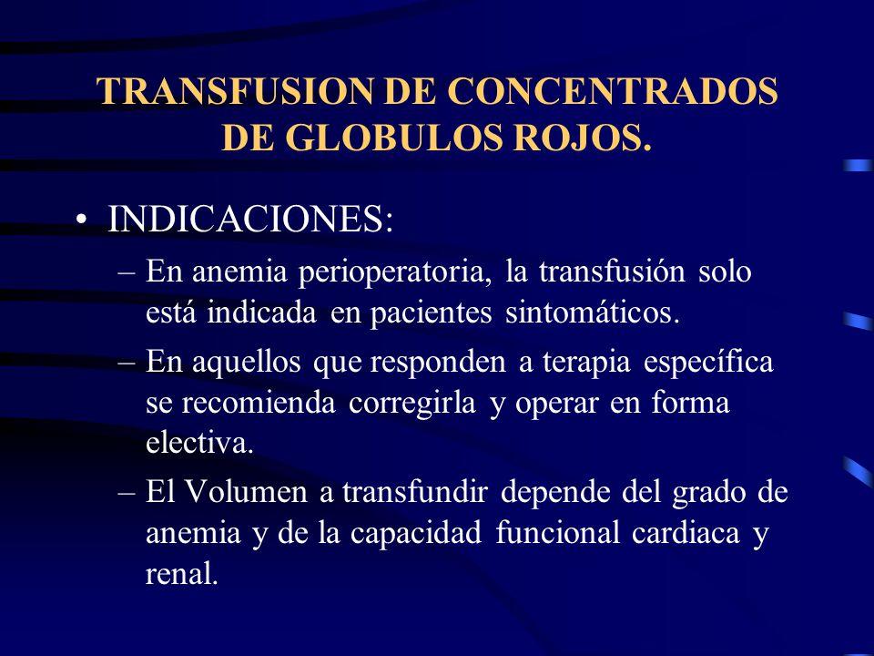 TRANSFUSION DE CONCENTRADOS DE GLOBULOS ROJOS. INDICACIONES: –En anemia perioperatoria, la transfusión solo está indicada en pacientes sintomáticos. –