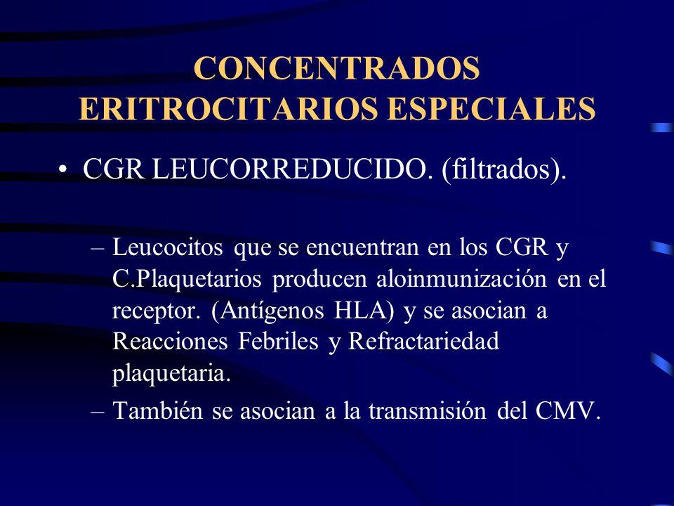 CONCENTRADOS ERITROCITARIOS ESPECIALES CGR LEUCORREDUCIDO. (filtrados). –Leucocitos que se encuentran en los CGR y C.Plaquetarios producen aloinmuniza