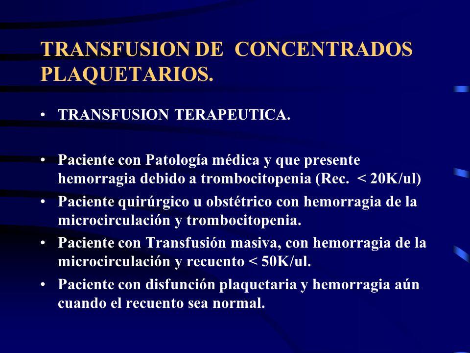 TRANSFUSION DE CONCENTRADOS PLAQUETARIOS. TRANSFUSION TERAPEUTICA. Paciente con Patología médica y que presente hemorragia debido a trombocitopenia (R