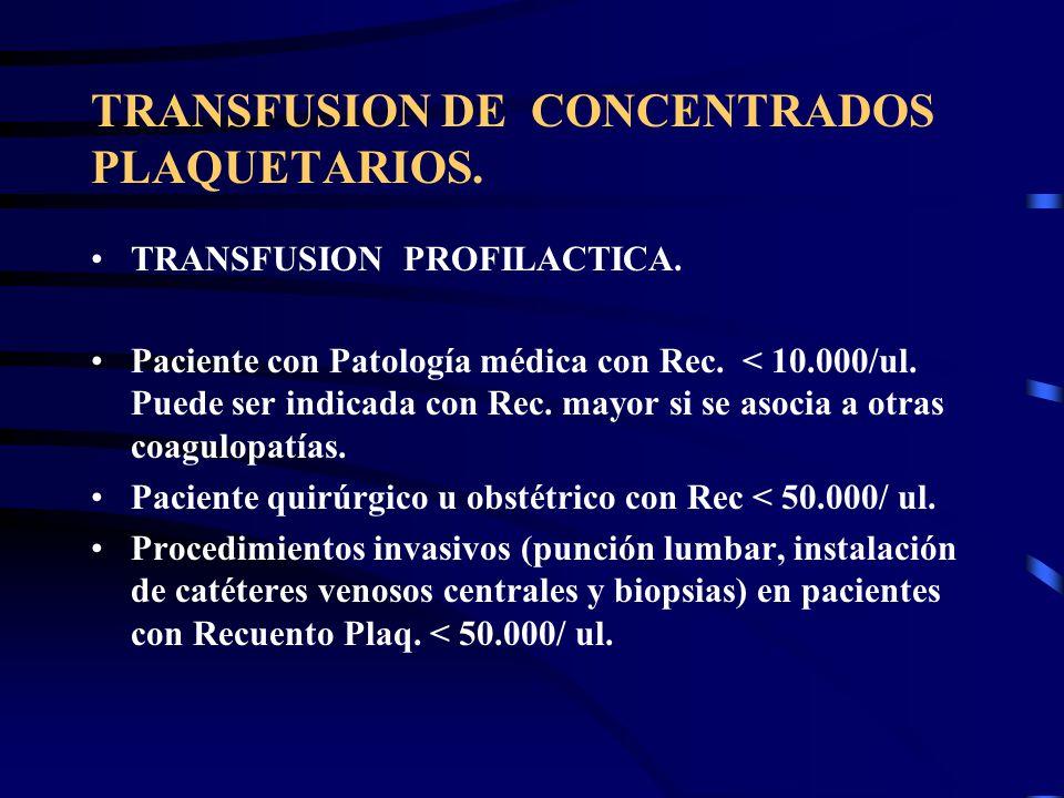 TRANSFUSION DE CONCENTRADOS PLAQUETARIOS. TRANSFUSION PROFILACTICA. Paciente con Patología médica con Rec. < 10.000/ul. Puede ser indicada con Rec. ma