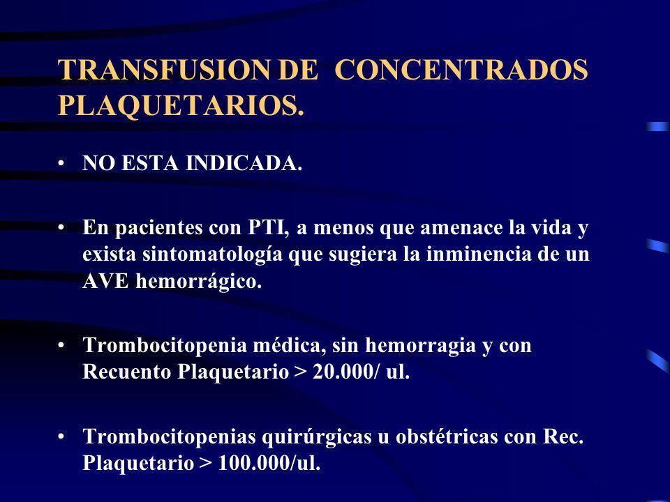 TRANSFUSION DE CONCENTRADOS PLAQUETARIOS. NO ESTA INDICADA. En pacientes con PTI, a menos que amenace la vida y exista sintomatología que sugiera la i