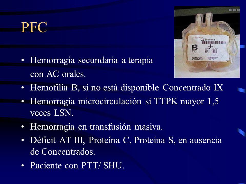 PFC Hemorragia secundaria a terapia con AC orales. Hemofilia B, si no está disponible Concentrado IX Hemorragia microcirculación si TTPK mayor 1,5 vec