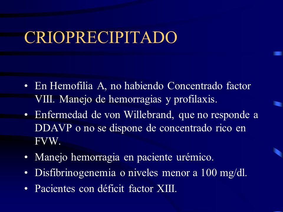 CRIOPRECIPITADO En Hemofilia A, no habiendo Concentrado factor VIII. Manejo de hemorragias y profilaxis. Enfermedad de von Willebrand, que no responde