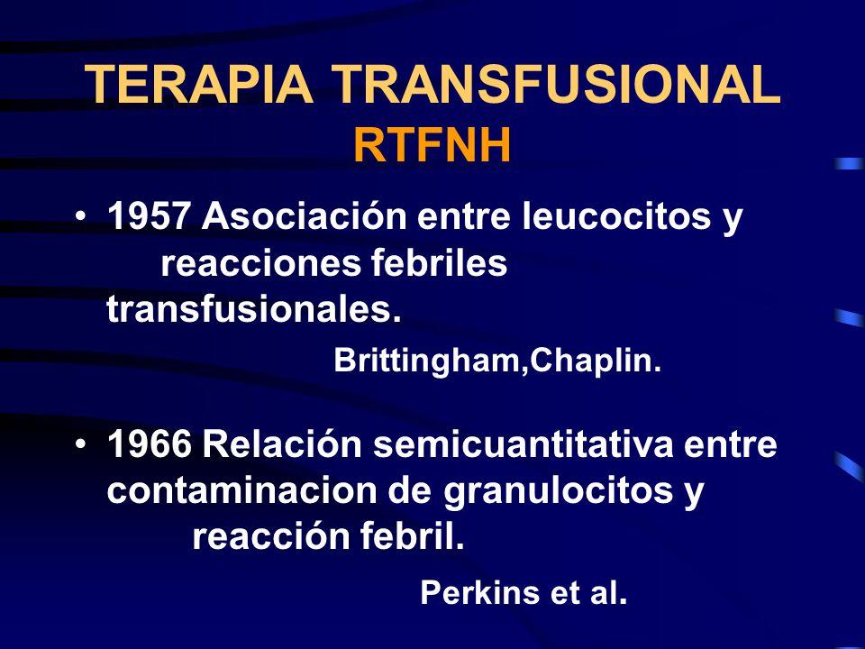 TERAPIA TRANSFUSIONAL RTFNH 1957 Asociación entre leucocitos y reacciones febriles transfusionales. Brittingham,Chaplin. 1966 Relación semicuantitativ