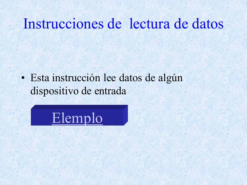 Instrucciones de lectura de datos Esta instrucción lee datos de algún dispositivo de entrada Elemplo