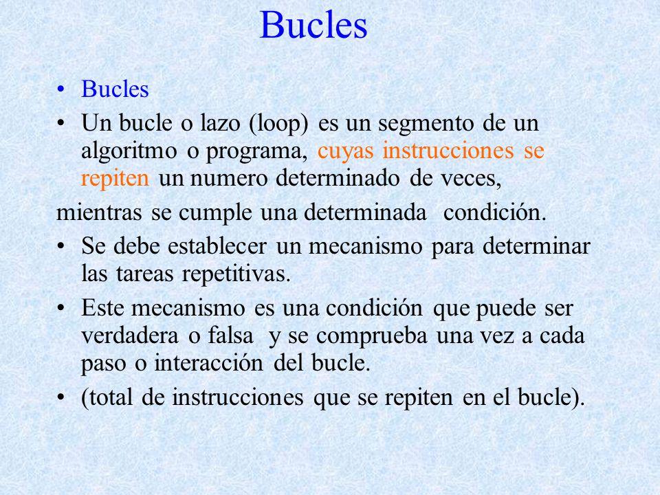 Bucles Un bucle o lazo (loop) es un segmento de un algoritmo o programa, cuyas instrucciones se repiten un numero determinado de veces, mientras se cumple una determinada condición.