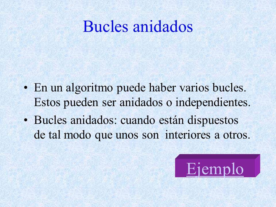 Bucles anidados En un algoritmo puede haber varios bucles.