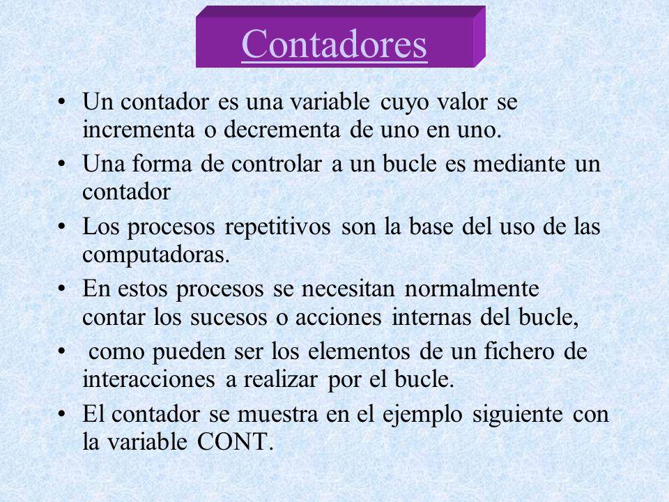 Un contador es una variable cuyo valor se incrementa o decrementa de uno en uno. Una forma de controlar a un bucle es mediante un contador Los proceso