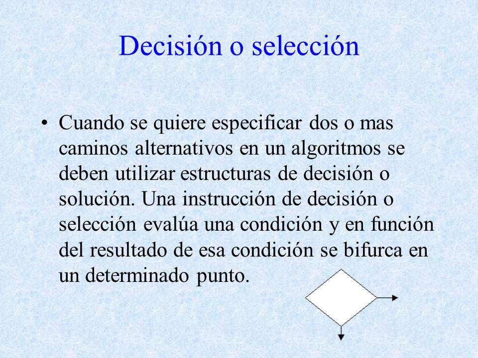 Decisión o selección Cuando se quiere especificar dos o mas caminos alternativos en un algoritmos se deben utilizar estructuras de decisión o solución.