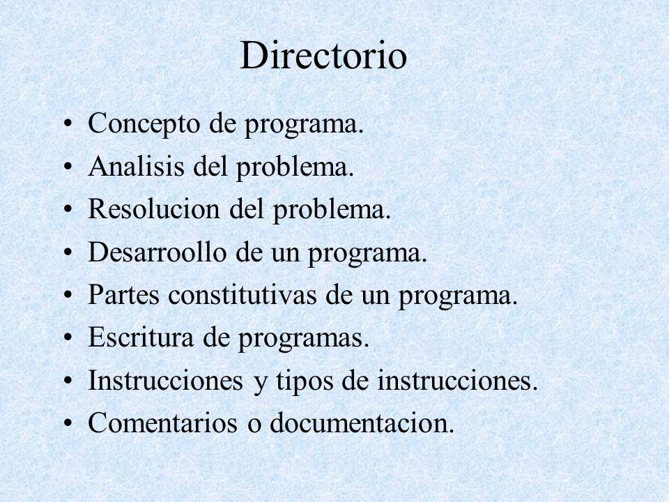 Directorio Concepto de programa. Analisis del problema. Resolucion del problema. Desarroollo de un programa. Partes constitutivas de un programa. Escr