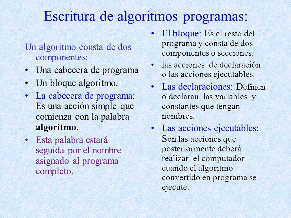Escritura de algoritmos programas: Un algoritmo consta de dos componentes: Una cabecera de programa Un bloque algoritmo.