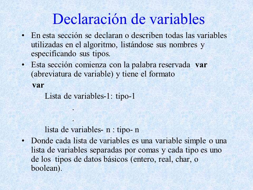 Declaración de variables En esta sección se declaran o describen todas las variables utilizadas en el algoritmo, listándose sus nombres y especificand