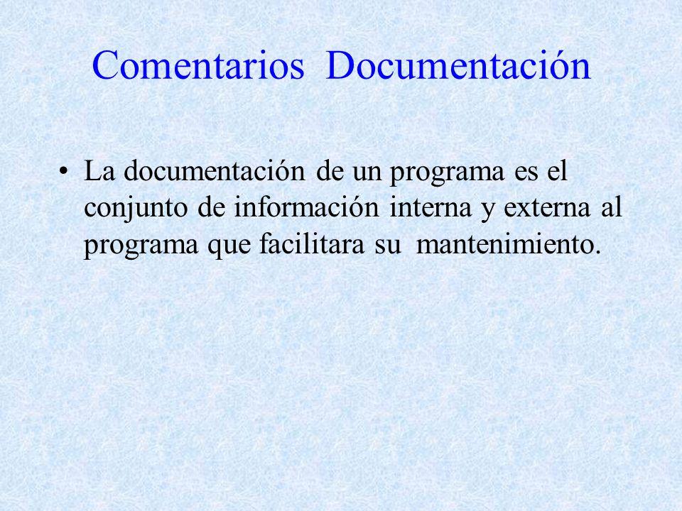 Comentarios Documentación La documentación de un programa es el conjunto de información interna y externa al programa que facilitara su mantenimiento.