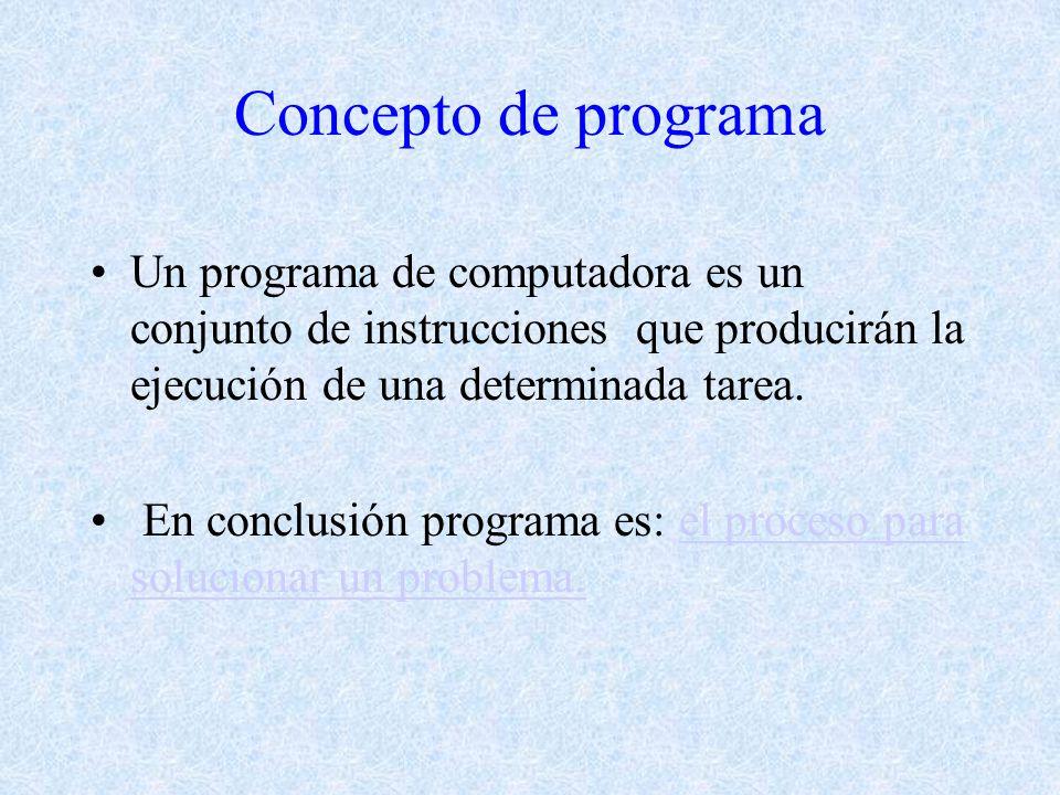 Concepto de programa Un programa de computadora es un conjunto de instrucciones que producirán la ejecución de una determinada tarea.