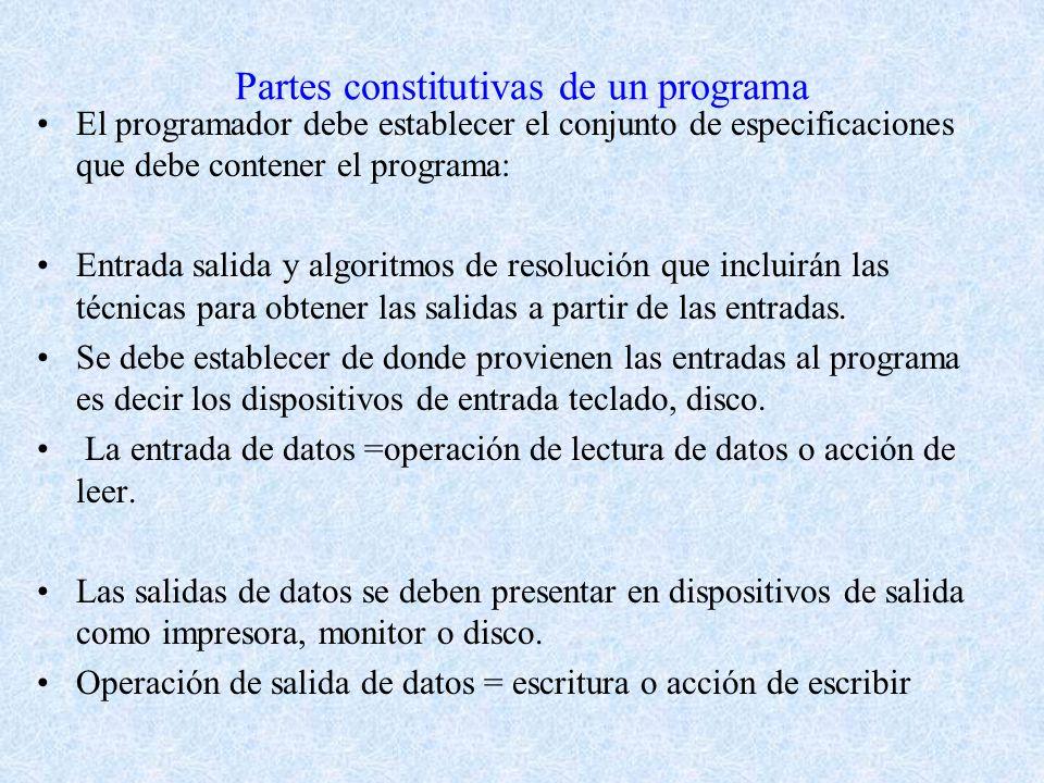 Partes constitutivas de un programa El programador debe establecer el conjunto de especificaciones que debe contener el programa: Entrada salida y algoritmos de resolución que incluirán las técnicas para obtener las salidas a partir de las entradas.