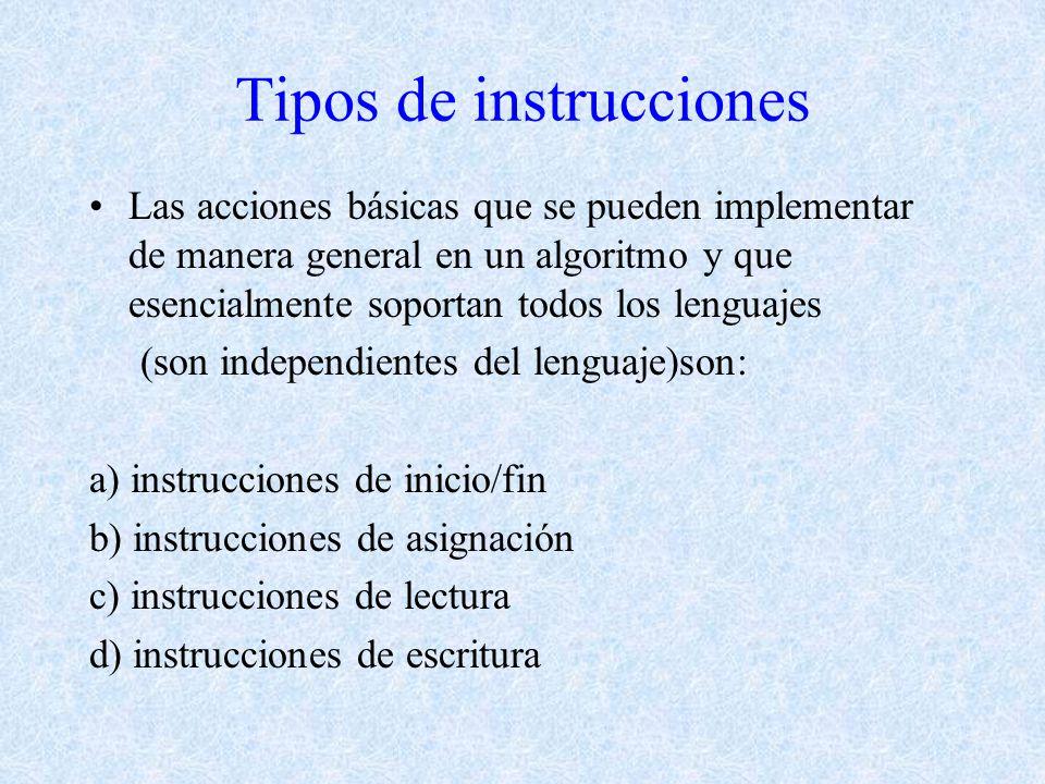 Tipos de instrucciones Las acciones básicas que se pueden implementar de manera general en un algoritmo y que esencialmente soportan todos los lenguajes (son independientes del lenguaje)son: a) instrucciones de inicio/fin b) instrucciones de asignación c) instrucciones de lectura d) instrucciones de escritura