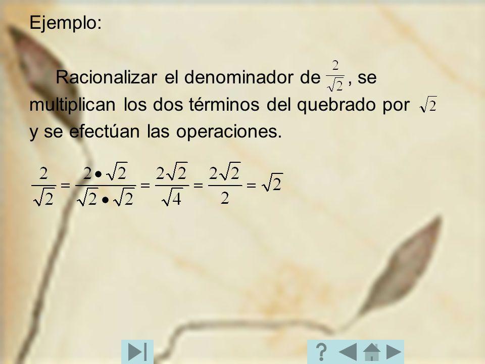 Ejemplo: Racionalizar el denominador de, se multiplican los dos términos del quebrado por y se efectúan las operaciones.