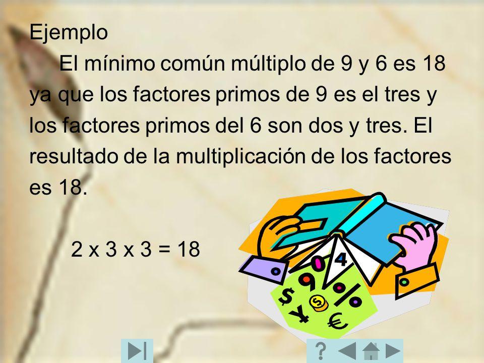 Ejemplo El mínimo común múltiplo de 9 y 6 es 18 ya que los factores primos de 9 es el tres y los factores primos del 6 son dos y tres. El resultado de