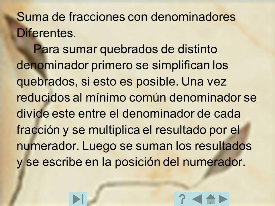 Suma de fracciones con denominadores Diferentes. Para sumar quebrados de distinto denominador primero se simplifican los quebrados, si esto es posible