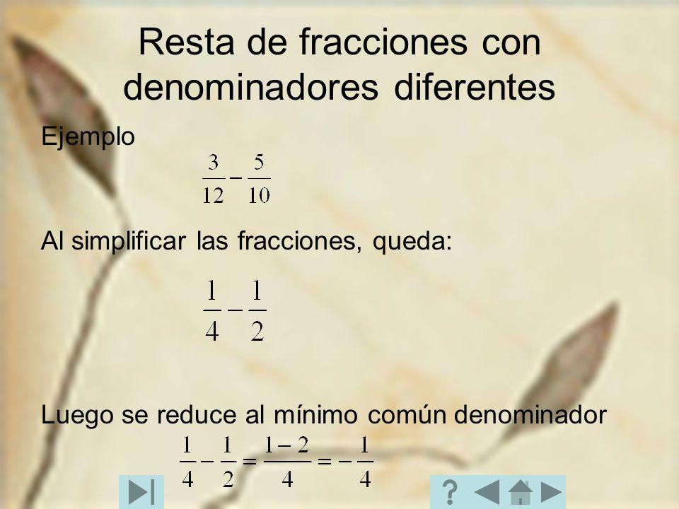 Resta de fracciones con denominadores diferentes Ejemplo Al simplificar las fracciones, queda: Luego se reduce al mínimo común denominador
