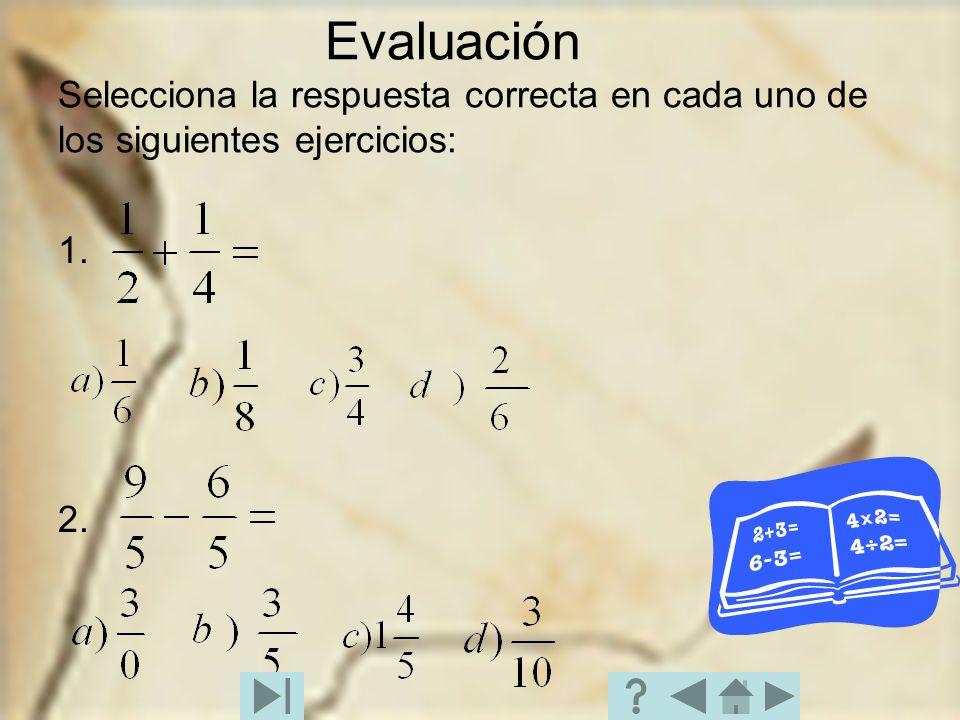 Evaluación Selecciona la respuesta correcta en cada uno de los siguientes ejercicios: 1. 2.