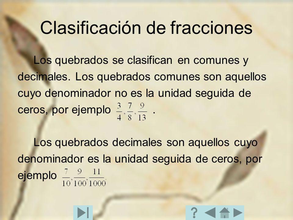 Clasificación de fracciones Los quebrados se clasifican en comunes y decimales. Los quebrados comunes son aquellos cuyo denominador no es la unidad se