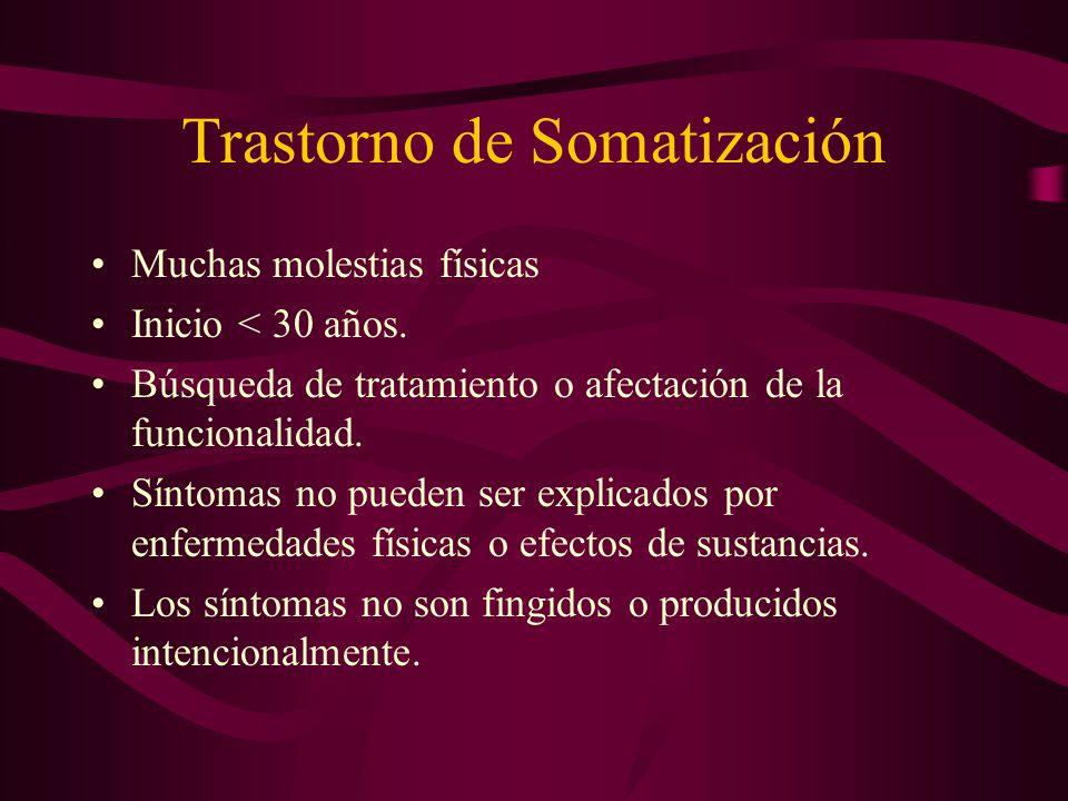 Trastorno de Somatización Muchas molestias físicas Inicio < 30 años. Búsqueda de tratamiento o afectación de la funcionalidad. Síntomas no pueden ser