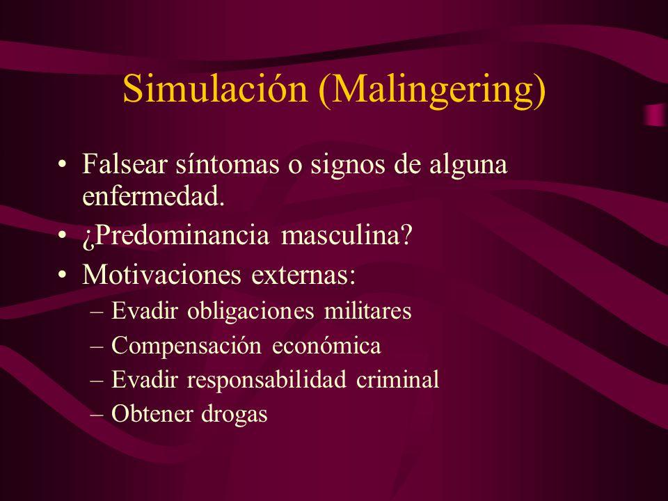 Simulación (Malingering) Falsear síntomas o signos de alguna enfermedad. ¿Predominancia masculina? Motivaciones externas: –Evadir obligaciones militar