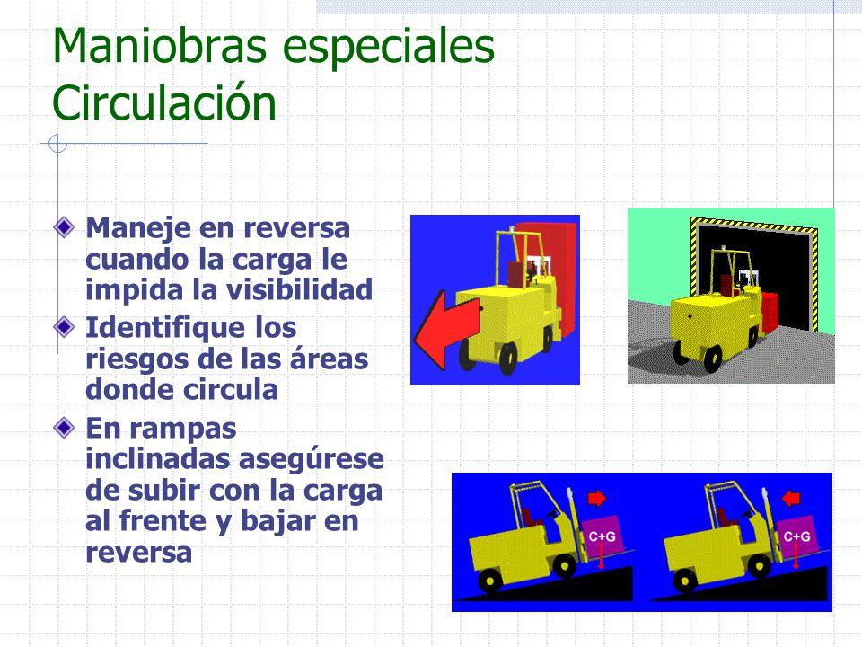Maniobras especiales Circulación Maneje en reversa cuando la carga le impida la visibilidad Identifique los riesgos de las áreas donde circula En ramp