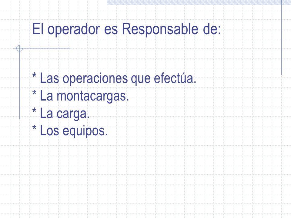 El operador es Responsable de: * Las operaciones que efectúa. * La montacargas. * La carga. * Los equipos.