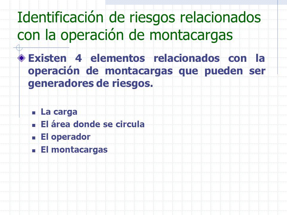 Identificación de riesgos relacionados con la operación de montacargas Existen 4 elementos relacionados con la operación de montacargas que pueden ser