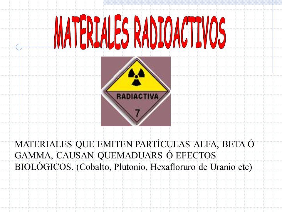 MATERIALES QUE EMITEN PARTÍCULAS ALFA, BETA Ó GAMMA, CAUSAN QUEMADUARS Ó EFECTOS BIOLÓGICOS. (Cobalto, Plutonio, Hexafloruro de Uranio etc)