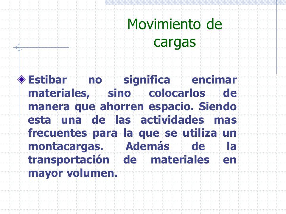 Movimiento de cargas Estibar no significa encimar materiales, sino colocarlos de manera que ahorren espacio. Siendo esta una de las actividades mas fr