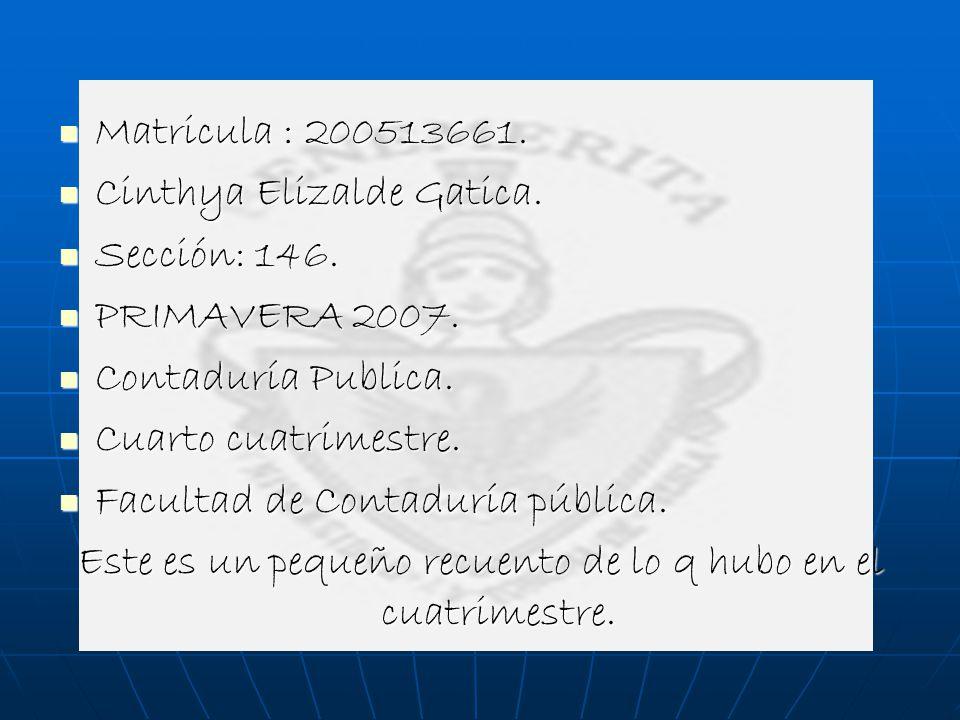 Matricula : 200513661. Matricula : 200513661. Cinthya Elizalde Gatica. Cinthya Elizalde Gatica. Sección: 146. Sección: 146. PRIMAVERA 2007. PRIMAVERA