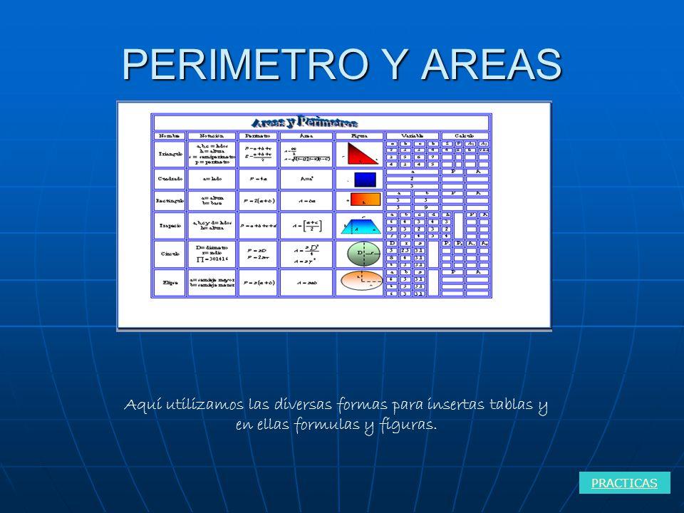 PERIMETRO Y AREAS PRACTICAS Aquí utilizamos las diversas formas para insertas tablas y en ellas formulas y figuras.