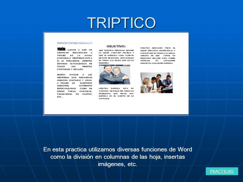 TRIPTICO PRACTICAS En esta practica utilizamos diversas funciones de Word como la división en columnas de las hoja, insertas imágenes, etc.