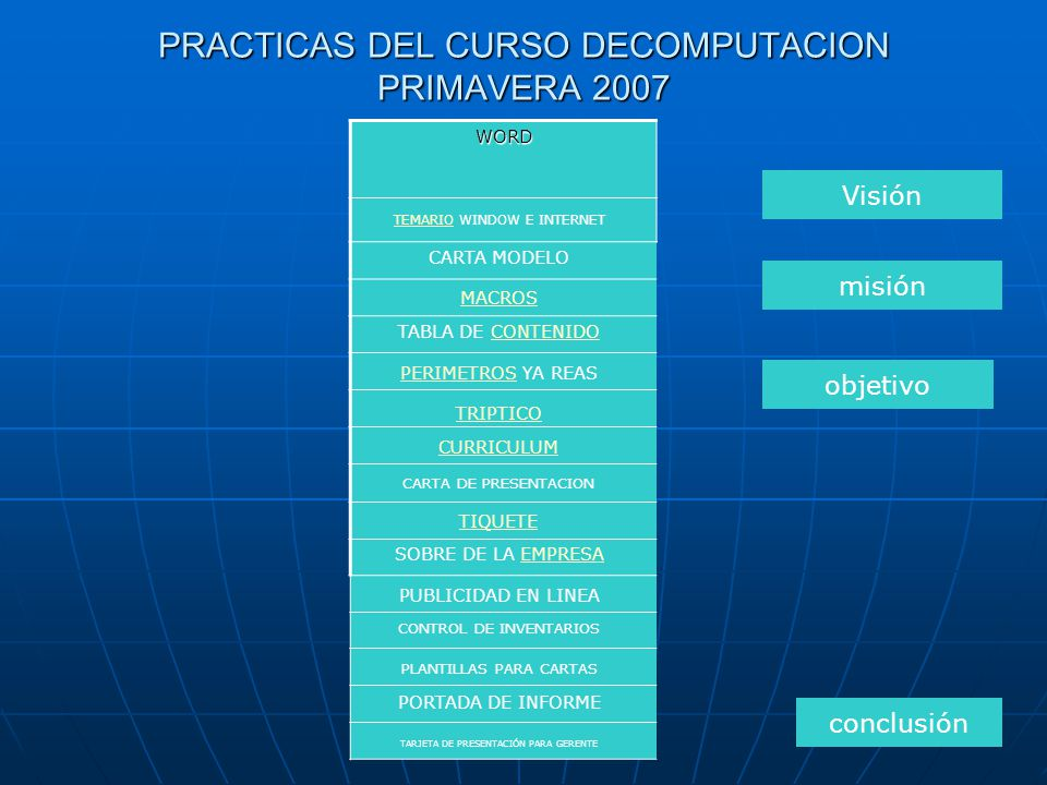 PRACTICAS DEL CURSO DECOMPUTACION PRIMAVERA 2007 WORD CARTA MODELO TEMARIO WINDOW E INTERNET MACROS PERIMETROS YA REAS TABLA DE CONTENIDO TRIPTICO CURRICULUM CARTA DE PRESENTACION TIQUETE SOBRE DE LA EMPRESA PUBLICIDAD EN LINEA CONTROL DE INVENTARIOS PLANTILLAS PARA CARTAS PORTADA DE INFORME TARJETA DE PRESENTACIÓN PARA GERENTE Visión misión objetivo conclusión