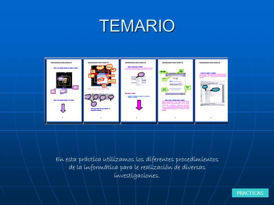TEMARIO PRACTICAS En esta práctica utilizamos los diferentes procedimientos de la informática para le realización de diversas investigaciones.