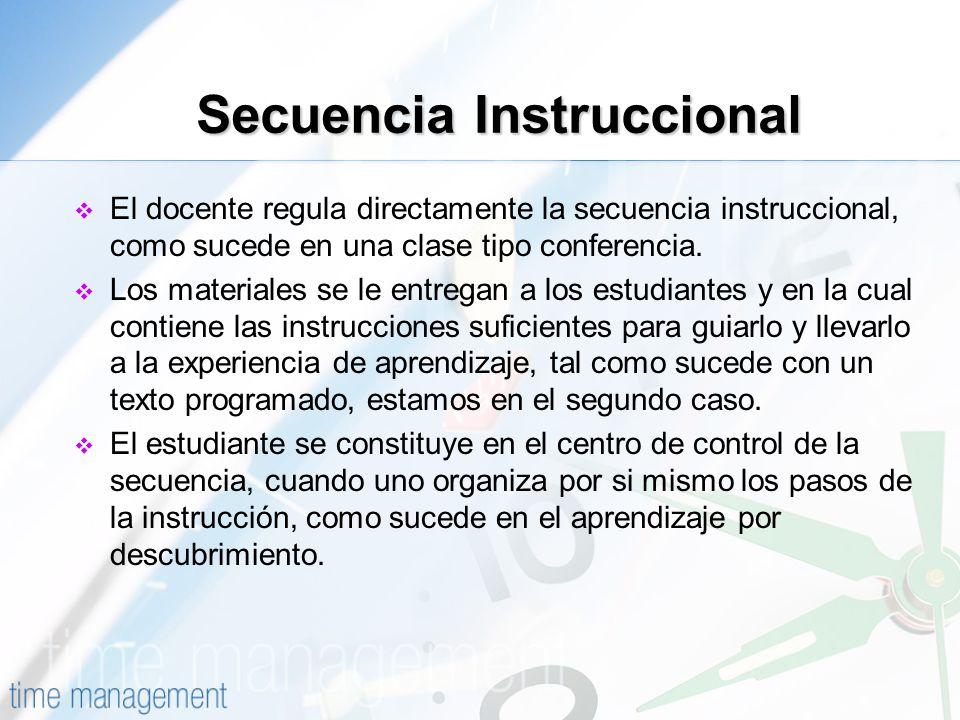 Secuencia Instruccional El docente regula directamente la secuencia instruccional, como sucede en una clase tipo conferencia. Los materiales se le ent