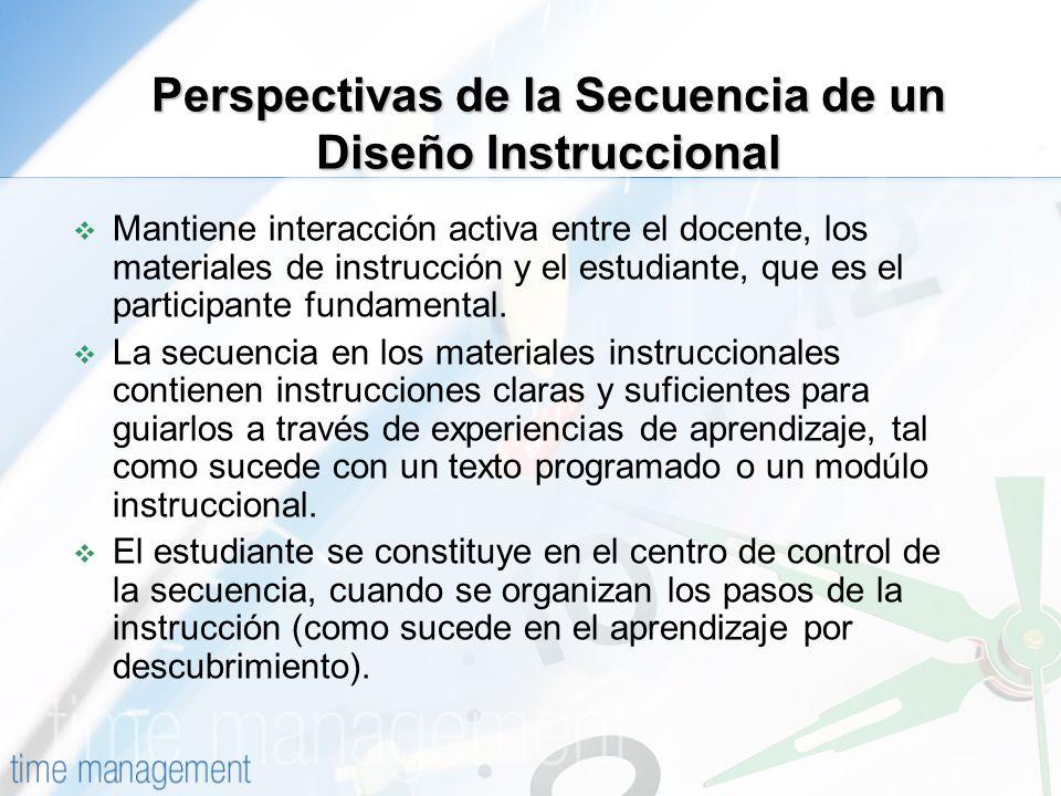 Perspectivas de la Secuencia de un Diseño Instruccional Mantiene interacción activa entre el docente, los materiales de instrucción y el estudiante, q