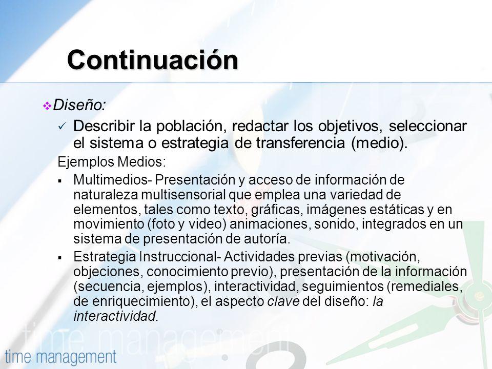 Continuación Diseño: Describir la población, redactar los objetivos, seleccionar el sistema o estrategia de transferencia (medio). Ejemplos Medios: Mu