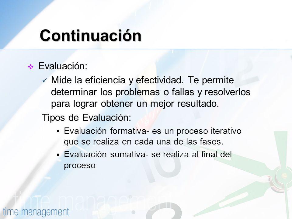 Evaluación: Mide la eficiencia y efectividad. Te permite determinar los problemas o fallas y resolverlos para lograr obtener un mejor resultado. Tipos