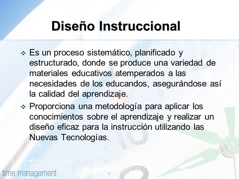 Diseño Instruccional Es un proceso sistemático, planificado y estructurado, donde se produce una variedad de materiales educativos atemperados a las n