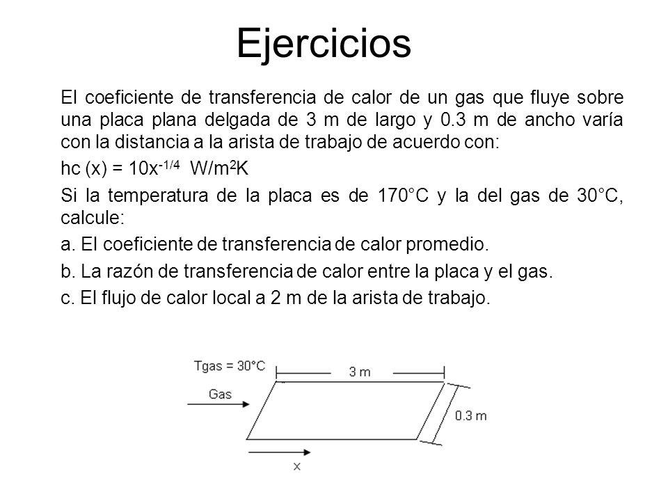 Ejercicios El coeficiente de transferencia de calor de un gas que fluye sobre una placa plana delgada de 3 m de largo y 0.3 m de ancho varía con la di