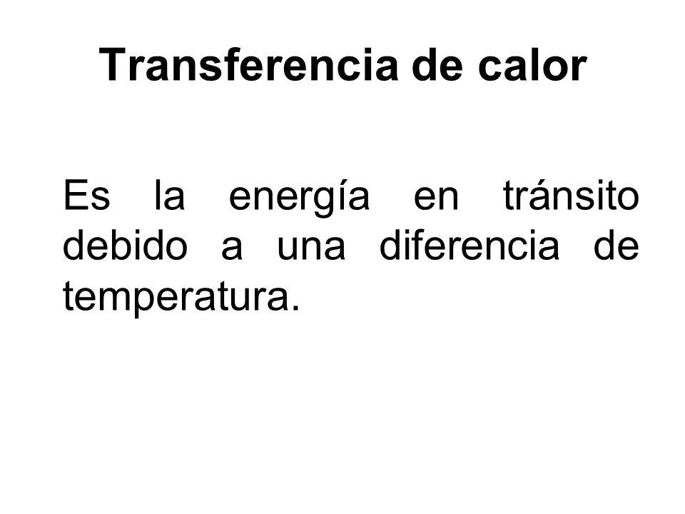 Transferencia de calor Es la energía en tránsito debido a una diferencia de temperatura.